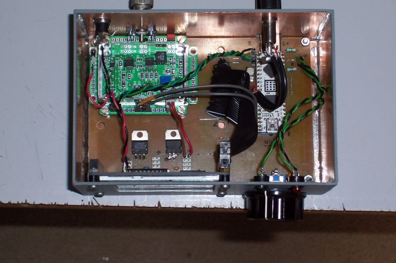 Inside view with the SDR pcb of Joris (see text)