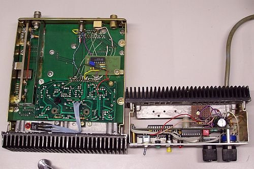Inside view of the modified transceiver and the new control unit