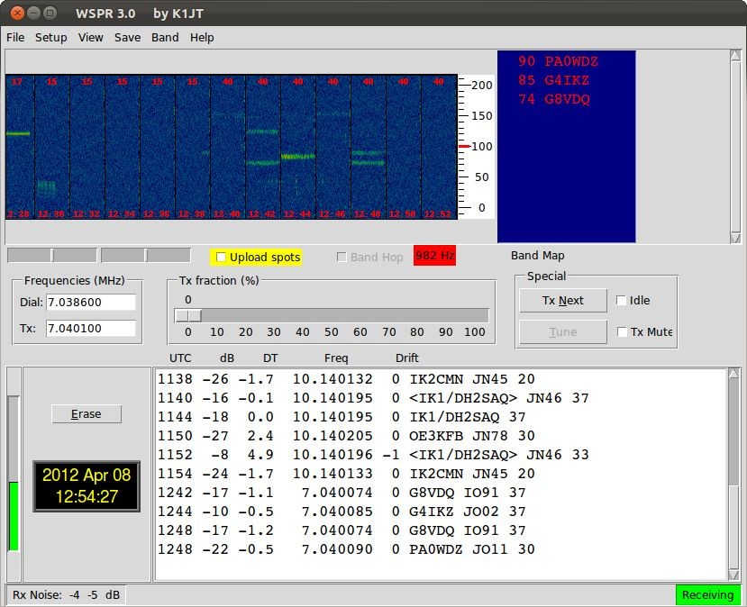 WSPR screen with received stations